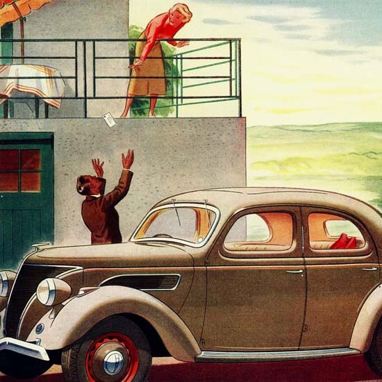 Detail Of Ford V8 22 Saloon DeLuxe UK 1938 | Best of 1930s Ad and Cover Art