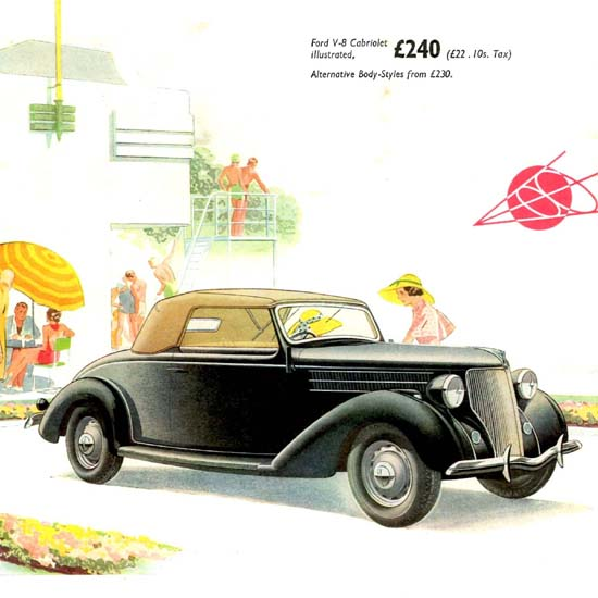 Detail Of Ford V8 Cabriolet UK 1936 | Best of Vintage Ad Art 1891-1970