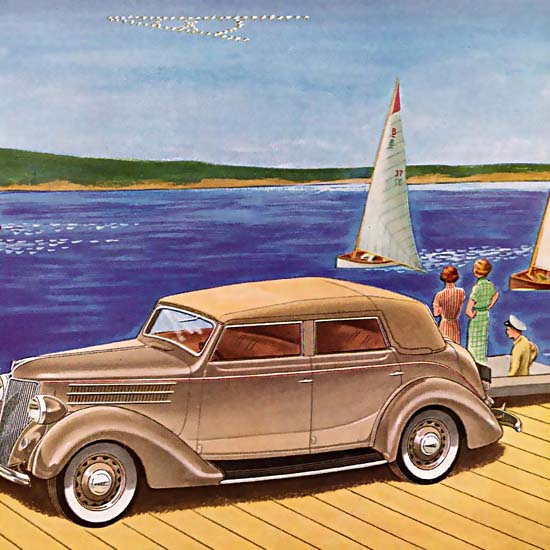 Detail Of Ford V8 For 1936 The Mark Of The Modern Car | Best of Vintage Ad Art 1891-1970