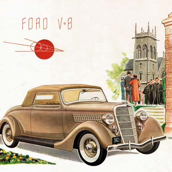 Detail Of Ford V8 Model 1935 | Best of 1930s Ad and Cover Art