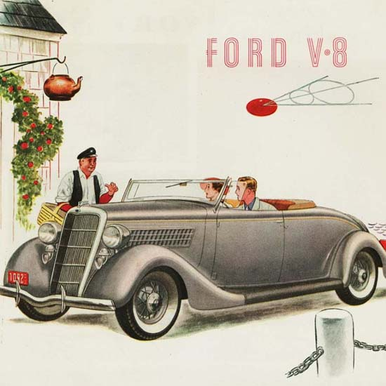 Detail Of Ford V8 Roadster 1935 | Best of Vintage Ad Art 1891-1970