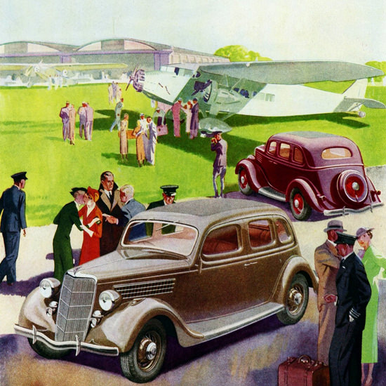 Detail Of Ford V8 Saloon De Luxe 1935 Airport | Best of Vintage Ad Art 1891-1970