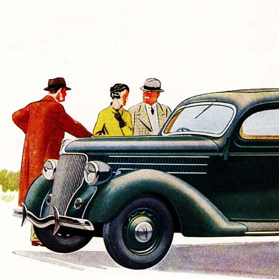 Detail Of Ford V8 Touring Saloon Double Entrance UK 1936 B | Best of Vintage Ad Art 1891-1970
