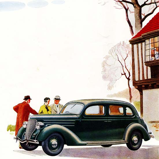Detail Of Ford V8 Touring Saloon Double Entrance UK 1936 | Best of 1930s Ad and Cover Art