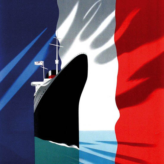 Detail Of French Line Atlantique Mediterranee 1937 | Best of Vintage Ad Art 1891-1970