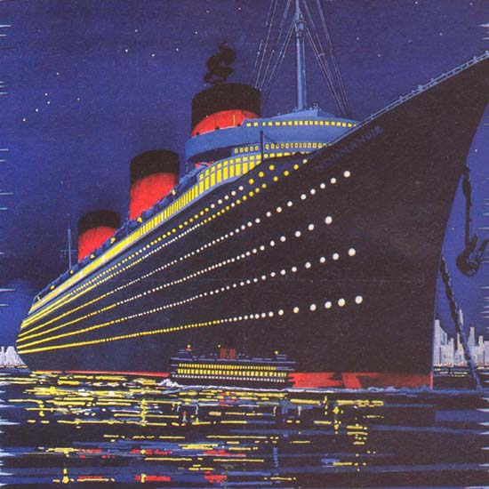Detail Of French Line Normandie Worlds  Perfect Ship 1939 | Best of Vintage Ad Art 1891-1970
