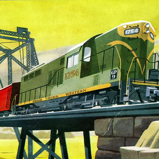 Detail Of GM Electro LocoMotive 1954 G Trunk Western | Best of Vintage Ad Art 1891-1970