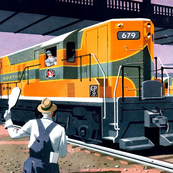 Detail Of GM Electro LocoMotive 1954 Great Northern | Best of Vintage Ad Art 1891-1970