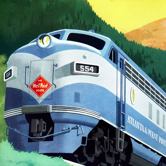 Detail Of GM Electro LocoMotive Division 1953 Mountains | Best of Vintage Ad Art 1891-1970