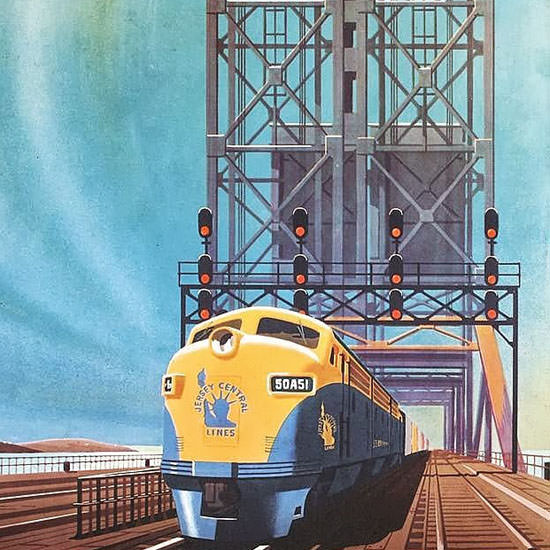 Detail Of GM Locomotives Jersey Central 1950s | Best of Vintage Ad Art 1891-1970