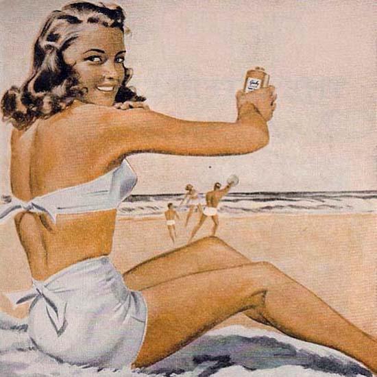Detail Of Gaby Tan Beach Girl Has A Gorgeos Gabytan | Best of Vintage Ad Art 1891-1970