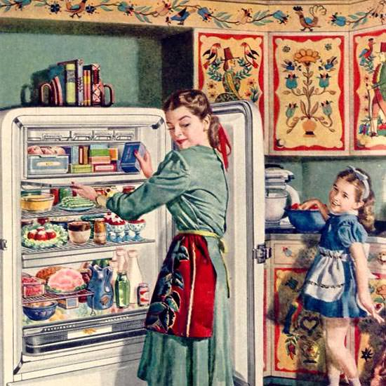 Detail Of General Motors Refrigerator Fridge 1948 | Best of 1940s Ad and Cover Art