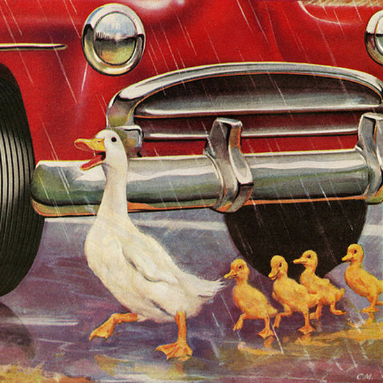 Detail Of General Tire Quicker Stops Wet Weather 1952 | Best of Vintage Ad Art 1891-1970