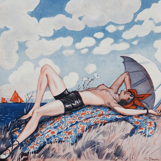Detail Of George Pavis La Vie Parisienne 1926 Heliotherapie page | Best of 1920s Ad and Cover Art