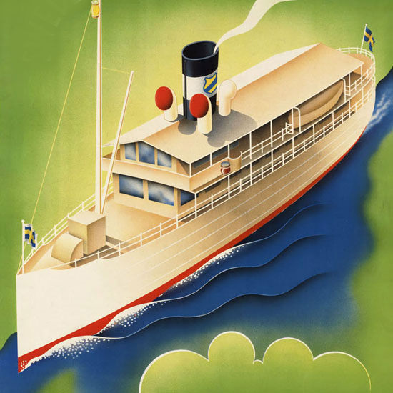 Detail Of Goeta Canal Swedens Scenic Waterway 1930s | Best of 1930s Ad and Cover Art