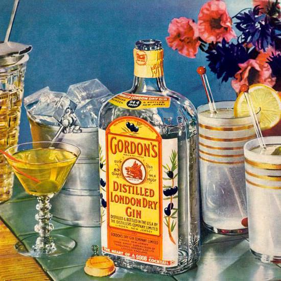 Detail Of Gordons London Dry Gin Cocktails 1937 | Best of Vintage Ad Art 1891-1970