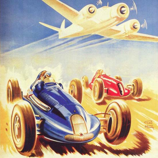Detail Of Grand Prix Automobile D Aviation Nimes 1947 | Best of 1940s Ad and Cover Art