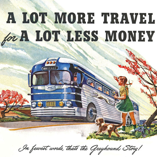 Detail Of Greyhound Autumn Wind Fall More Travel 1949 | Best of Vintage Ad Art 1891-1970