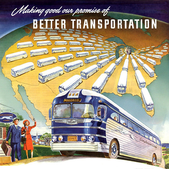 Detail Of Greyhound Better Transportation 1947 | Best of 1940s Ad and Cover Art