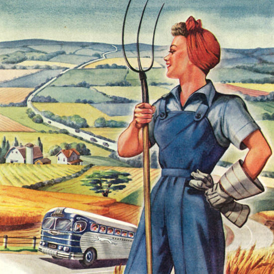 Detail Of Greyhound Lifelines Of War 1944 Farmer Woman | Best of 1940s Ad and Cover Art