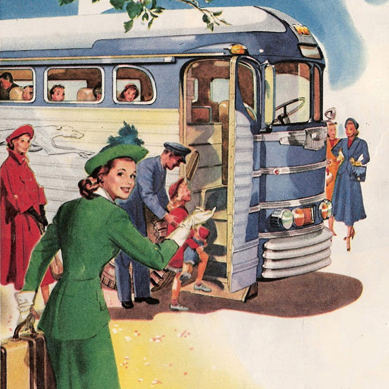 Detail Of Greyhound Main Entrance All Big Events 1948 | Best of 1940s Ad and Cover Art