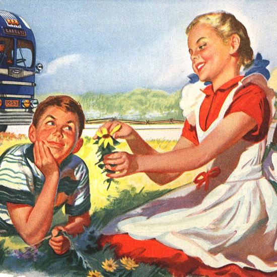 Detail Of Greyhound Spring Kids 1953 | Best of Vintage Ad Art 1891-1970