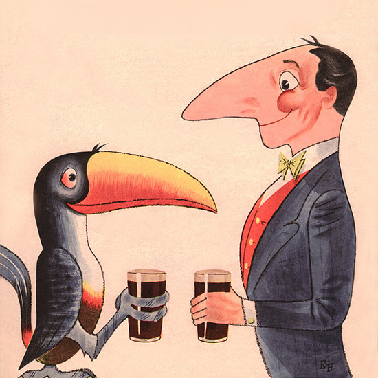 Detail Of Guinnes Lovely Day For A Guinness 1954 | Best of Vintage Ad Art 1891-1970