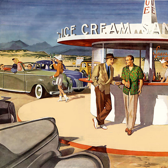 Detail Of Gulf Motor Oil Ice Cream | Best of Vintage Ad Art 1891-1970