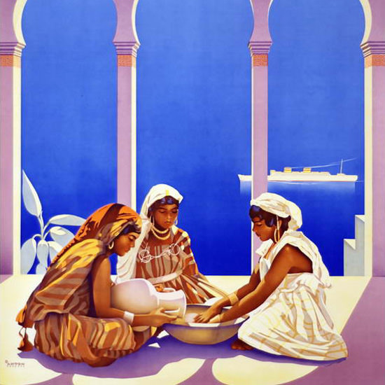 Detail Of Hamburg-Amerika Croisieres Mediterranee 1930 | Best of 1930s Ad and Cover Art