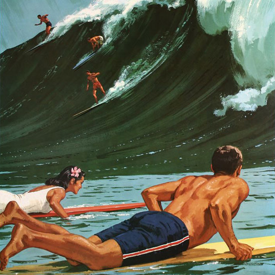 Detail Of Hawaii Surfing Girl 1950s | Best of Vintage Ad Art 1891-1970