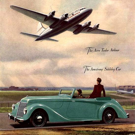 Detail Of Hawker 1940 Siddeley Car Tudor Airliner | Best of Vintage Ad Art 1891-1970