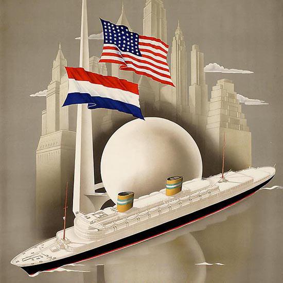 Detail Of Holland-America Lijn New York 1939 | Best of Vintage Ad Art 1891-1970