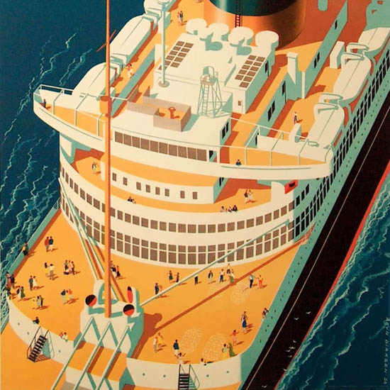 Detail Of Holland-America Line SS Nieuw Amsterdam 1954 | Best of Vintage Ad Art 1891-1970