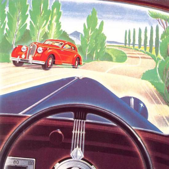 Detail Of Hotchkiss Route Est Plus Belle Volant D Une 1947 | Best of 1940s Ad and Cover Art