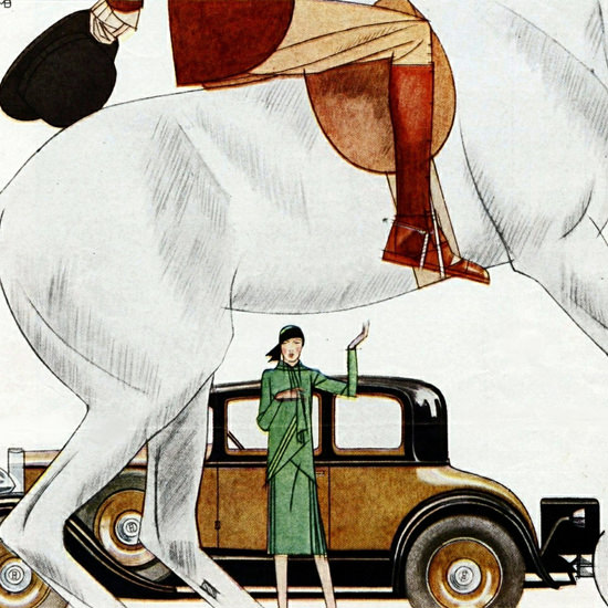 Detail Of Hupmobile Century 1929 Mode Creators by Bernard Boutet de Monvel | Best of Vintage Ad Art 1891-1970