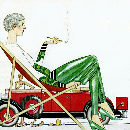 Detail Of Hupmobile Century Roadster 1929 Handsome by Bernard Boutet de Monvel | Best of 1920s Ad and Cover Art