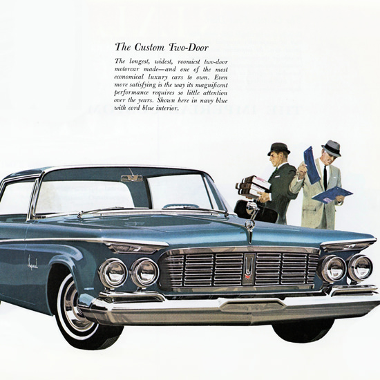 Detail Of Imperial Custom 1963 Longest Two Door Car | Best of Vintage Ad Art 1891-1970