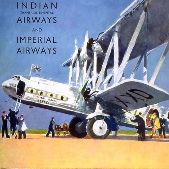 Detail Of Indian Airways Trans-Continental Europe India | Best of Vintage Ad Art 1891-1970