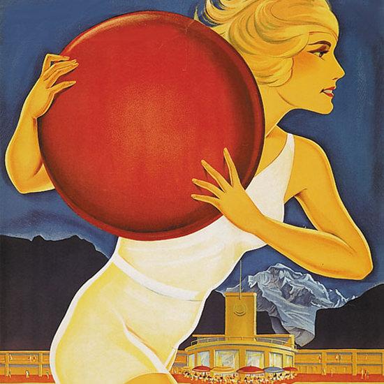 Detail Of Interlaken Strandbad Girl 1930s Lido Switzerland | Best of Vintage Ad Art 1891-1970