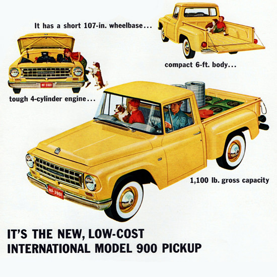 Detail Of International Model 900 Pickup 1963 Low Cost | Best of Vintage Ad Art 1891-1970