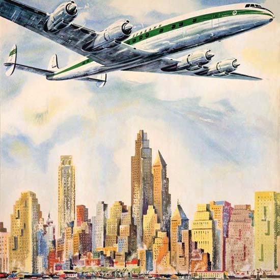 Detail Of Irish Air Lines Super Constellation New York 1958 | Best of Vintage Ad Art 1891-1970