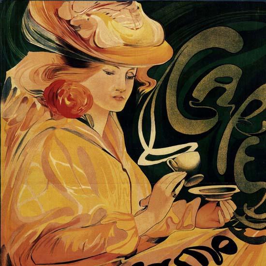 Detail Of Jacamotte Cafe Bruxelles Belgium Art Nouveau | Best of Vintage Ad Art 1891-1970