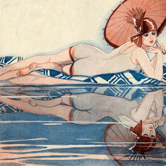Detail Of Jacques Leclerc La Vie Parisienne 1920s Les Eaux Brave page | Best of 1920s Ad and Cover Art