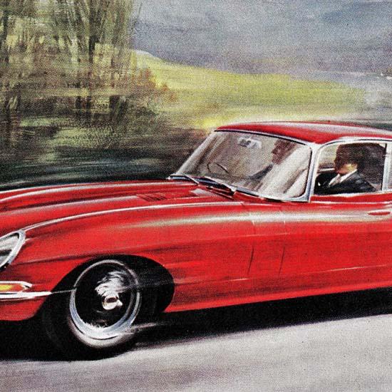 Detail Of Jaguar 4-2 Litre E Type GT Model 1965 | Best of Vintage Ad Art 1891-1970