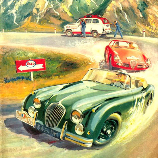 Detail Of Jaguar XK 150 Coupe Des Alpes Esso 1958 | Best of Vintage Ad Art 1891-1970