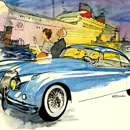 Detail Of Jaguar XK-150 Gran Turismo Coupe 1957 | Best of Vintage Ad Art 1891-1970