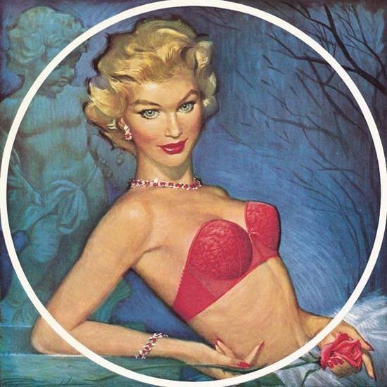 Detail Of Jantzen Curvallure Lingerie Girl Pink Pete Hawley   Best of Vintage Ad Art 1891-1970