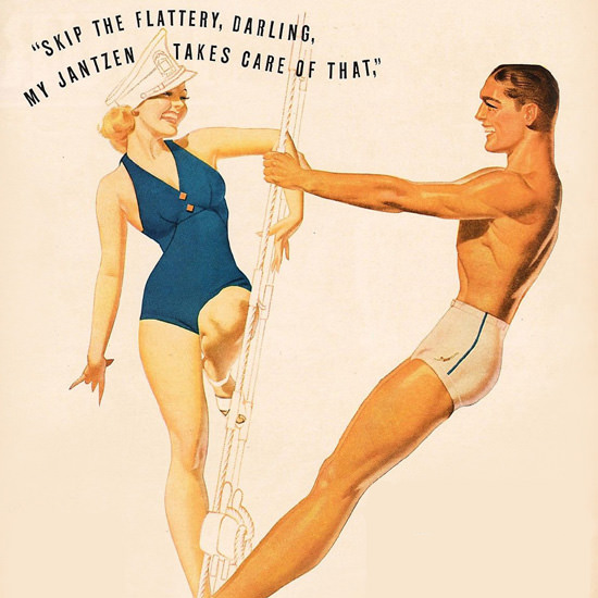 Detail Of Jantzen Swim Suits Captain Takes Care Of That George Petty | Best of Vintage Ad Art 1891-1970