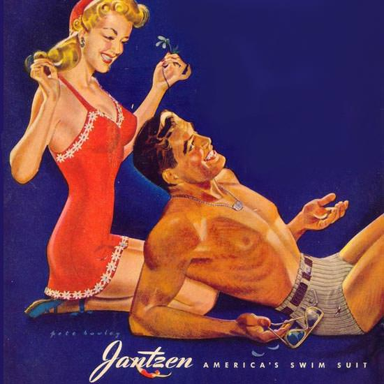Detail Of Jantzen Swim Suits Couple To Remember 1943 | Best of Vintage Ad Art 1891-1970