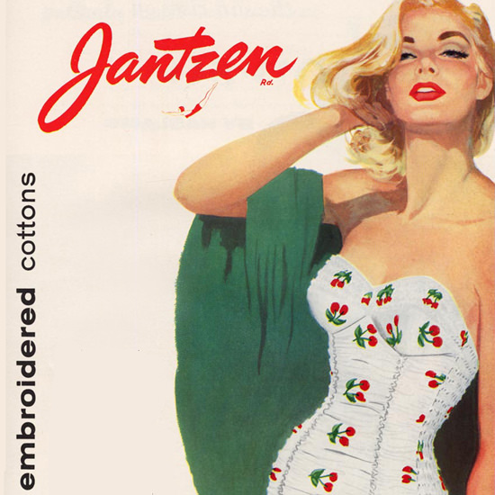Detail Of Jantzen Swim Suits Exotic Embroidered Cottons | Best of Vintage Ad Art 1891-1970